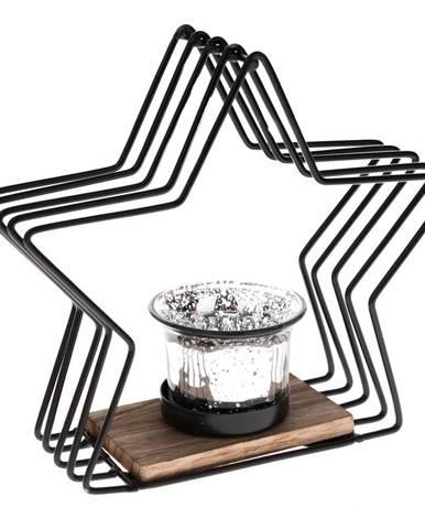 Čierny kovový svietnik v tvare hviezdy Dakls, výška 18 cm