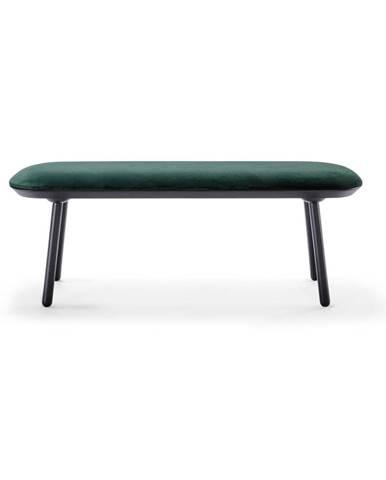 Zeleno-čierna zamatová lavica EMKO Naïve, 140 cm