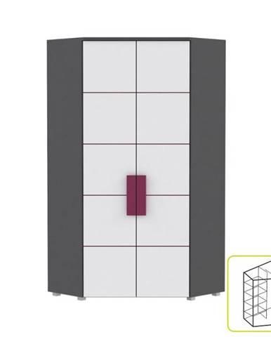 Skriňa rohová kombinovaná sivá/biela/fialová LOBETE 89