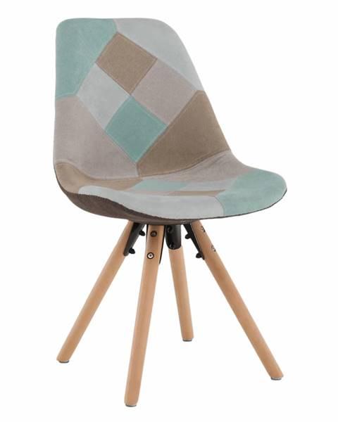 Kondela Jedálenská stolička patchwork mentol/hnedá GLORIA