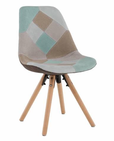 Jedálenská stolička patchwork mentol/hnedá GLORIA