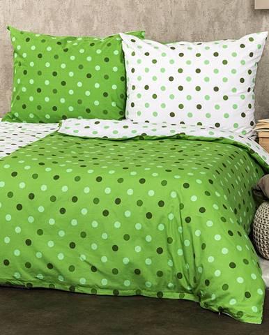 4Home Bavlnené obliečky Bodky zelená, 140 x 220 cm, 70 x 90 cm
