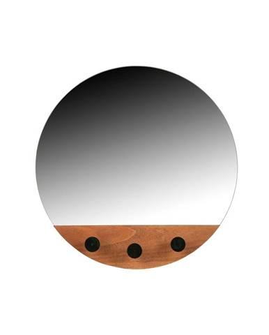 Nástenné zrkadlo s tromi háčikmi WOOOD Tyler, ø 40 cm