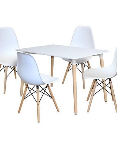 Jedálenský stôl 120x80 UNO biely + 4 stoličky UNO biele