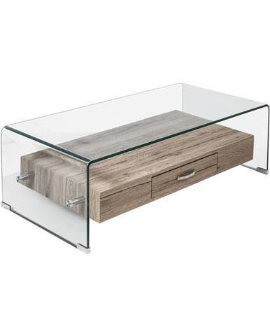 Konferenčný stolík 1 zásuvka sklo/MDF
