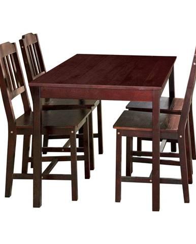 Stôl + 4 stoličky 8849 tmavohnedý lak