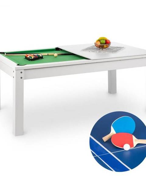 OneConcept OneConcept Liverpool, 3-v-1, hrací stôl, 7' biliardový stôl, stôl na stolný tenis, jedálenský stôl, biely