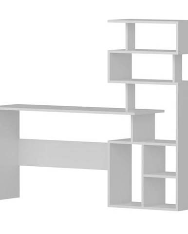 Písací stôl s regálom NEXT biela
