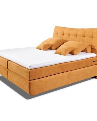 Posteľ boxspring LAYLA oranžová, 180x200 cm