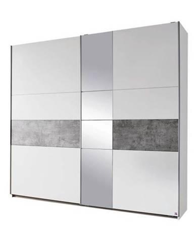 Šatníková skriňa CADENCE biela/sivá, šírka 261 cm
