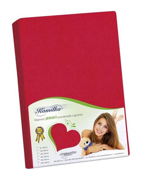 Bellatex Bellatex Jersey prestieradlo Kamilka červená, 140 x 200 cm