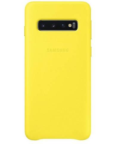 Kryt na mobil Samsung Leather Cover na Galaxy S10 žltý