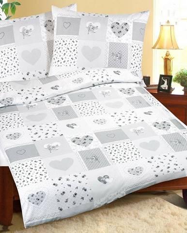 Bellatex Bavlnené obliečky Srdce patchwork, 140 x 200 cm, 70 x 90 cm