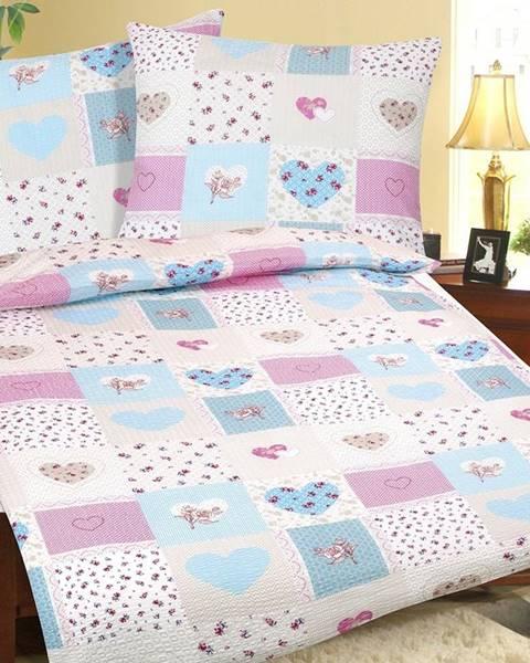 Bellatex Bellatex Krepové obliečky Srdce modro-ružová
