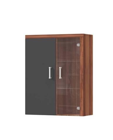 Závesná vitrína slivka/sivý grafit CHERIS 4
