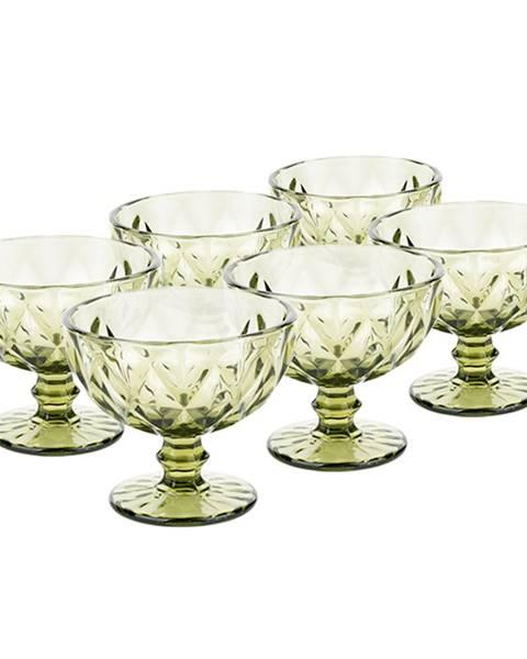 Kondela Retro sklené poháre na zmrzlinu 6ks 300ml zelená BAROLO TYP 5