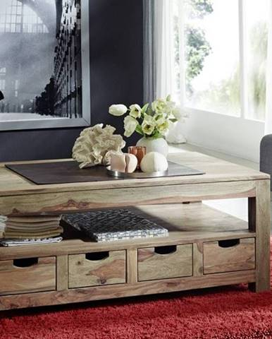 GREY WOOD Konferenčný stolík so šuplíkmi 120x70 cm, palisander