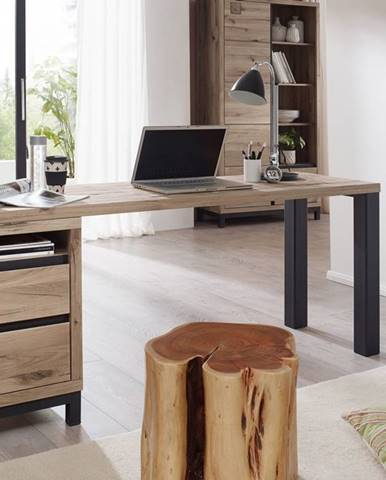 TIROL Písací stôl s poličkou 180x55 cm, svetlohnedá, dub