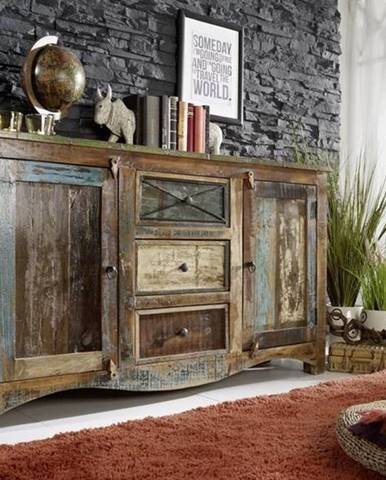 OLDTIME Komoda 85x150 cm, staré drevo
