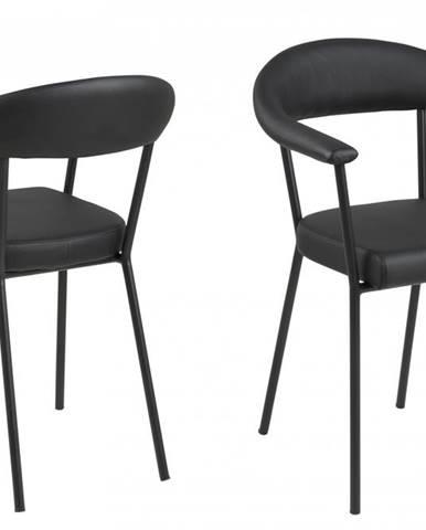 Jedálenská stolička s opierkami AVA, čierna
