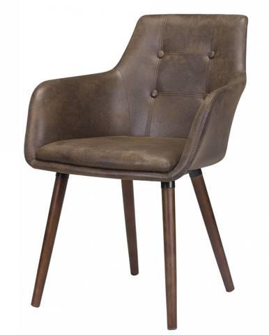 Jedálenská stolička s opierkami JOHANN, hnedá