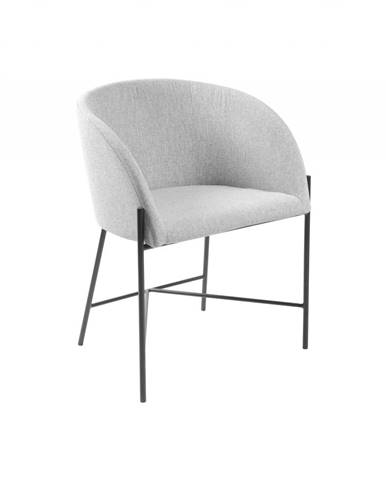 Jedálenská stolička s opierkami NELSON, svetlosivá, čierna