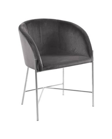 Jedálenská stolička s opierkami NELSON, tmavošedá, strieborná