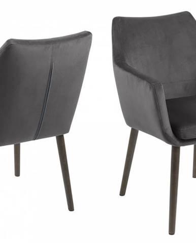Jedálenská stolička s opierkami NORA, tmavošedá