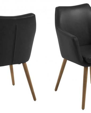 Jedálenská stolička s opierkami NORA, vintage čierna