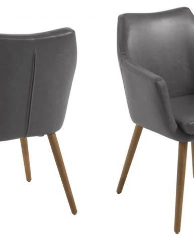 Jedálenská stolička s opierkami NORA, vintage sivá