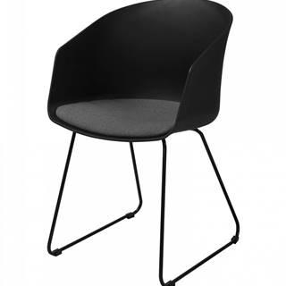 Jedálenská stolička s opierkami MOON, čierna