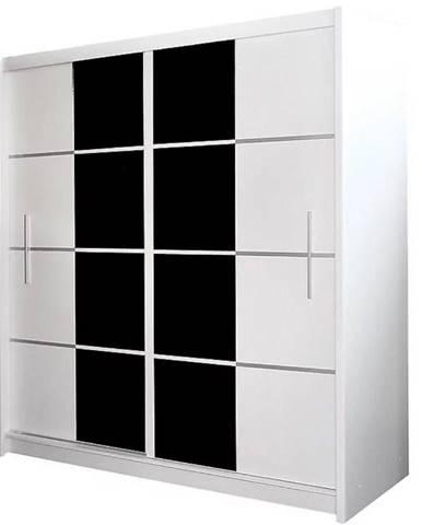Skriňa Porto 203 cm biela s čiernym sklom