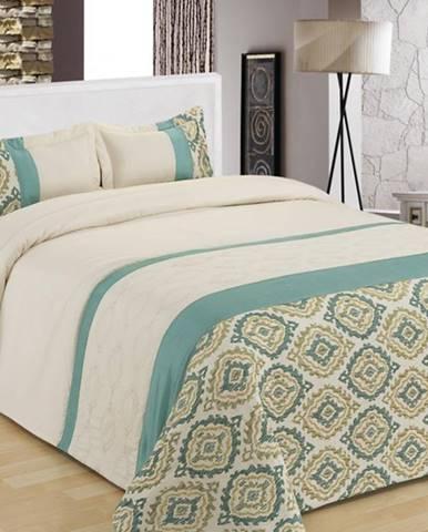 Prikrývka na posteľ  170x220/ 1x60x40 NL-C919 bielý/modrý