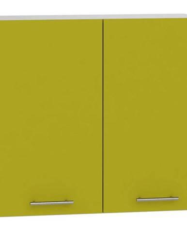 Skrinka do kuchyne Hana zelený lesk/biela W80 BB
