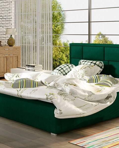 NABBI Liza 140 čalúnená manželská posteľ s roštom tmavozelená