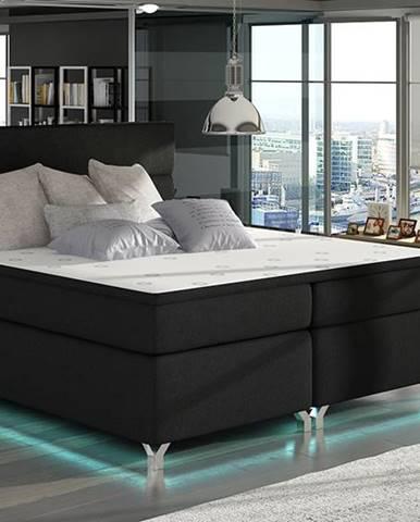 Avellino 160 čalúnená manželská posteľ s úložným priestorom čierna (Sawana 14)