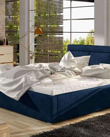Branco 160 čalúnená manželská posteľ s roštom tmavomodrá