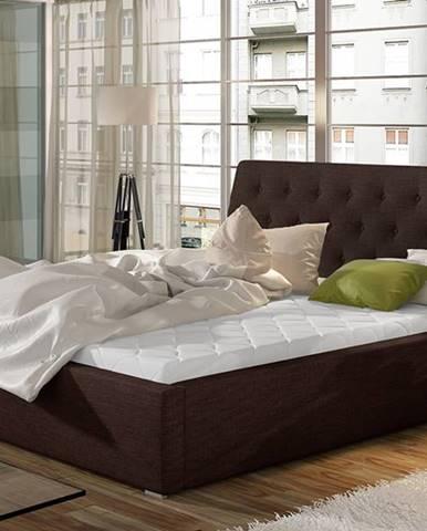 Monzo 200 čalúnená manželská posteľ s roštom tmavohnedá (Sawana 26)