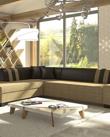 Pinero II L rohová sedačka s rozkladom a úložným priestorom cappuccino