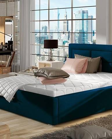 Rovigo 200 čalúnená manželská posteľ s roštom tmavomodrá
