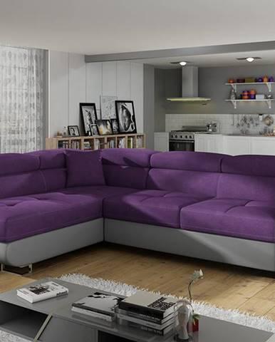 Almero L rohová sedačka s rozkladom a úložným priestorom fialová