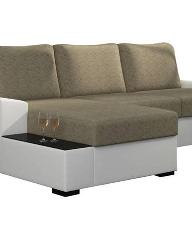 Nettuno L rohová sedačka s rozkladom a úložným priestorom cappuccino