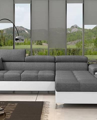 Rosino P rohová sedačka s rozkladom a úložným priestorom sivá (Sawana 05)