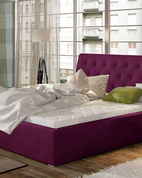 NABBI Monzo 160 čalúnená manželská posteľ s roštom vínová