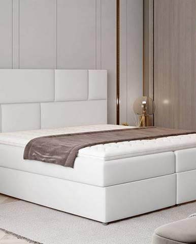 Ferine 145 čalúnená manželská posteľ s úložným priestorom biela