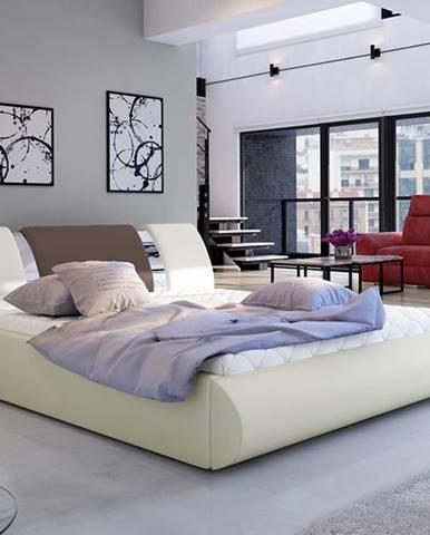 Folino 140 čalúnená manželská posteľ s roštom béžová