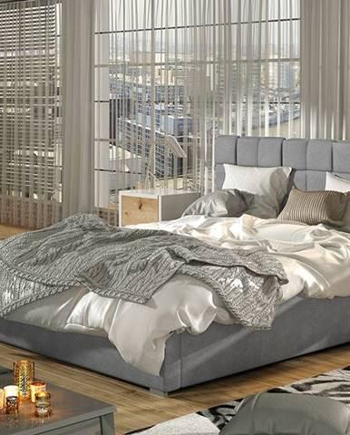 Galimo 160 čalúnená manželská posteľ s roštom svetlosivá