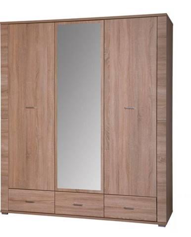 Grand 2 3D šatníková skriňa so zrkadlom dub sonoma