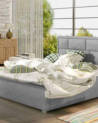 Liza 200 čalúnená manželská posteľ s roštom svetlosivá (Paros 05)