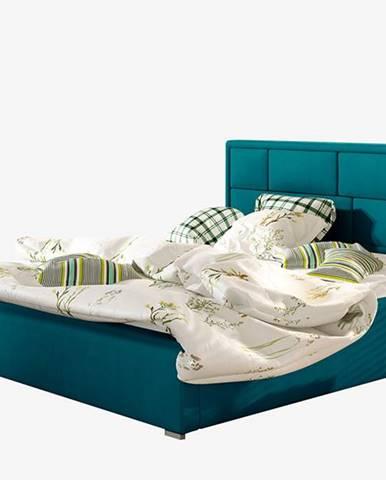 Liza UP 200 čalúnená manželská posteľ s roštom tyrkysová